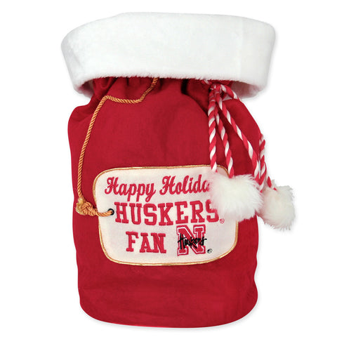 Huskers Fan Santa Christmas Bag