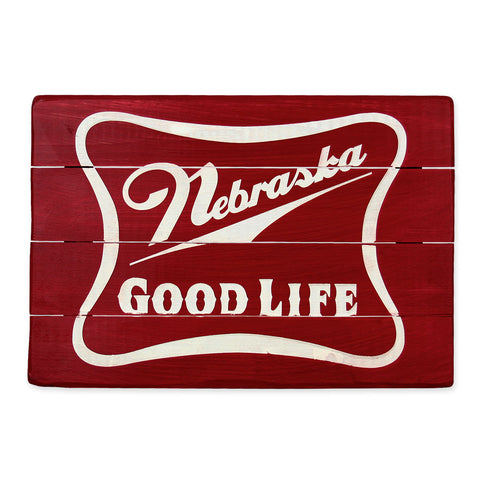 Nebraska Good Life Barnwood Sign Decor
