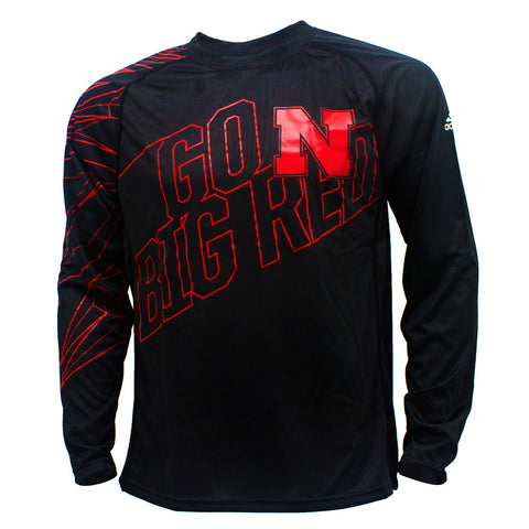 Go Big Red Volume Performance Tee by Adidas - LS - Black