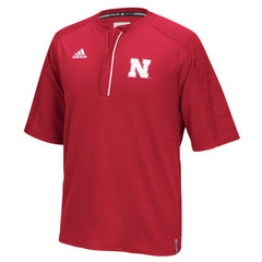 2016 Nebraska Football Coach's Short Sleeve 1/4 Zip by Adidas - Red - SS