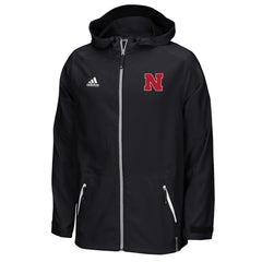 2016 Nebraska Huskers Woven Full Zip Jacket by Adidas - Black - LS