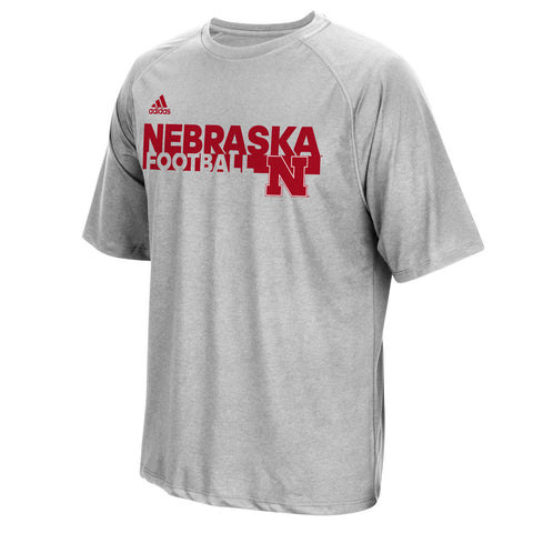 Nebraska Huskers Sideline Grind Football Crew by Adidas - Grey - SS