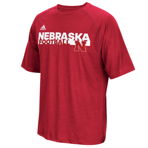 Nebraska Huskers Sideline Grind Football Crew by Adidas - Red - SS