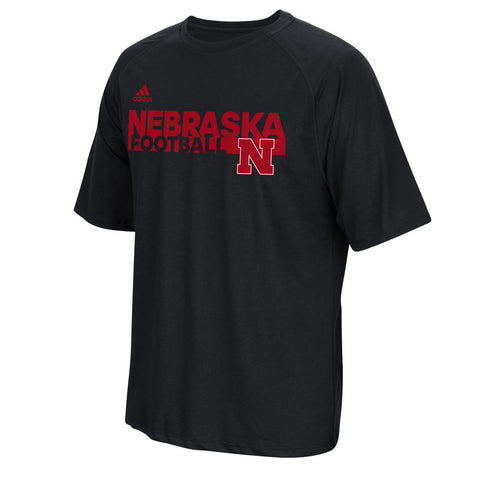 Nebraska Huskers Sideline Grind Football Crew by Adidas - Black - SS