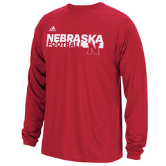 Nebraska Huskers Sideline Grind Football Crew by Adidas - Red - LS