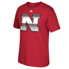 Nebraska Chromed Logo Football Tee by Adidas - SS - Red