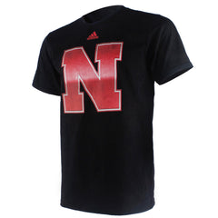 1 LEFT! Nebraska Chromed Logo Football Tee by Adidas - SS - Black