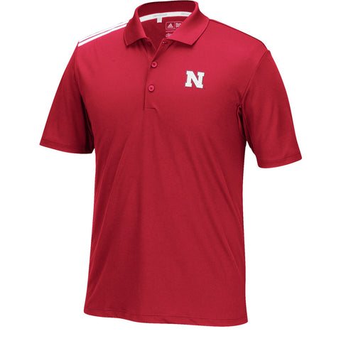 Nebraska Climacool 3-Stripes Golf Polo by Adidas - SS - Red