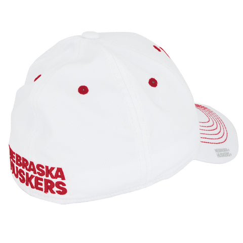 Nebraska Football Structured Flex Hat by Adidas - White