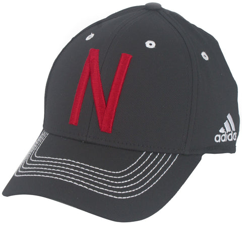 Nebraska Football Coaches Structured Flex Hat by Adidas - Black