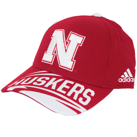 Nebraska Huskers Cut-N-Sew Structured Adjustable Hat by Adidas - Red