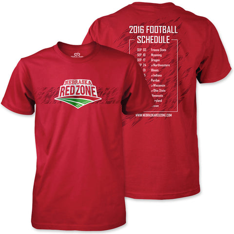 2016 Nebraska Red Zone Schedule Tee - SS - Red