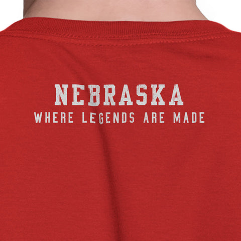 Nebraska Where Legends Are Made Tee Distressed Back Print