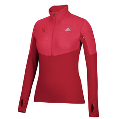 Women's Nebraska Climalite 1/2 Zip Pullover by Adidas - LS - Red