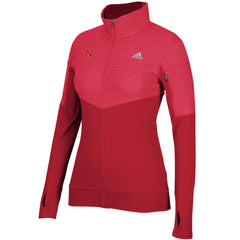 Women's Nebraska Climalite Full Zip by Adidas - LS - Red