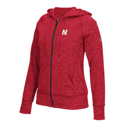 Women's Full Zip Nebraska Hoodie by Adidas - LS - Red