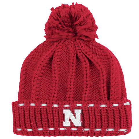 Girls Nebraska Youth Knit Hat - Red