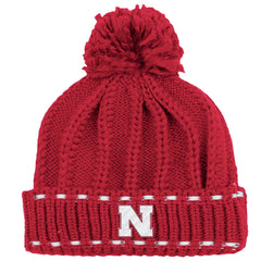 Women's Nebraska Cuffed Knit with Pom by Adidas
