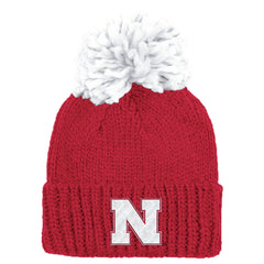 Women's Nebraska Cuffed Pom Knit by Adidas