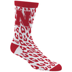 Nebraska Leopard Print Sock by Adidas - Red
