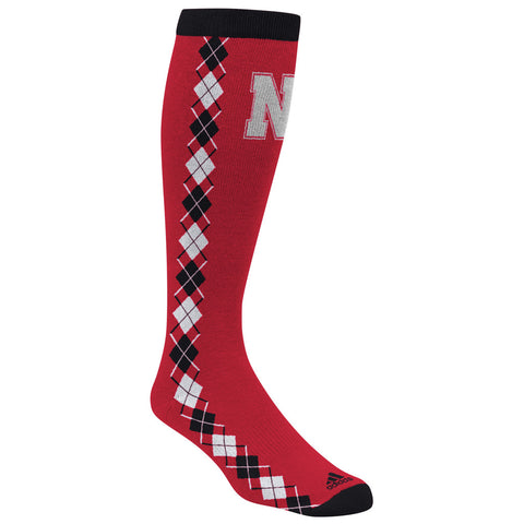 Nebraska Argyle Knee High Sock by Adidas - Red