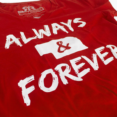 Nebraska Always & Forever V-Neck Tee - Red - SS Detail