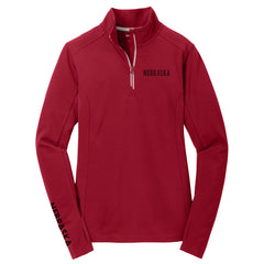 Ladies Nebraska Textured Performance 1/4 Zip by RZR - LS - Red