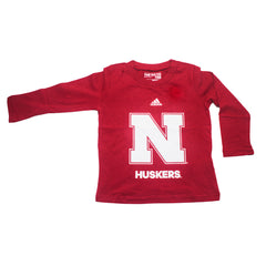 Youth Nebraska Huskers Loyal Fan Tee by Adidas - LS - Red