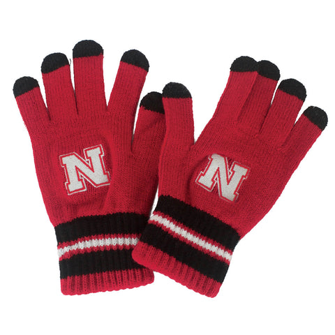 Youth Go Huskers Gloves by Adidas - Red