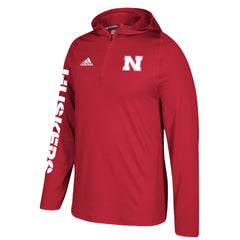 Men's Sideline 1/4 Zip Climalite Training Hood by Adidas-LS-Red