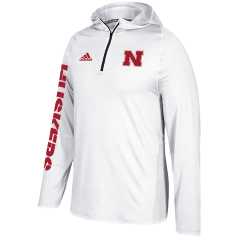 Men's Nebraska Huskers Sideline 1/4 Zip Climalite Training Hoodie by Adidas-LS-White