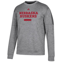 2017 Men's Sideline Chisled Team Issue Fleece Crew Sweatshirt by Adidas-LS-Heather Grey