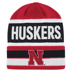 Men's Red Striped Huskers Cuffed Beanie by Adidas - Red