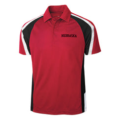 Men's Performance Polo with 2 Stripe Shoulder Stripe-SS-Red