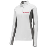 Women's Left Chest Nebraska 1/4 Zip-LS-Grey/White