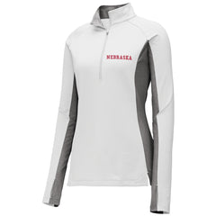 Women's Nebraska 1/4 Zip-LS-Grey/White