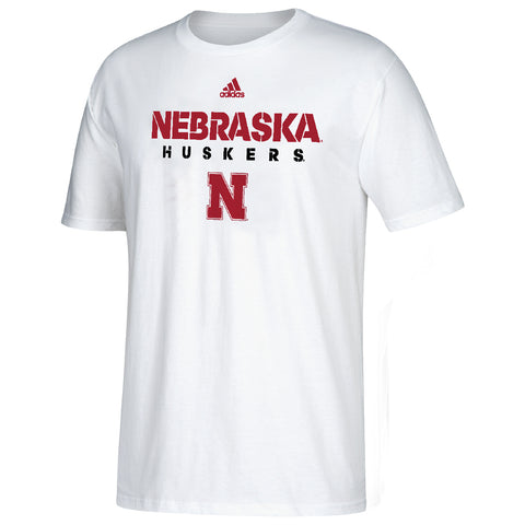Youth 2017 Sideline Nebraska Huskers Cotton Tee by Adidas-SS-White