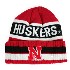Youth Sriped Huskers Striped Cuff Hat by Adidas - Grey