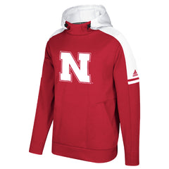 Men's Nebraska Sideline Players Climalite Hoodie by Adidas-LS-Red