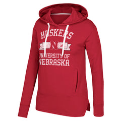 Women's N Nebraska Banner Arch Fleece Hood by Adidas-LS-Red