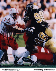 Nebraska Football Fred Pollack Autographed 8 x 10 inch Photo