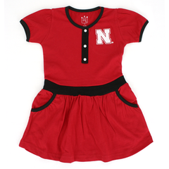 Nebraska Huskers Kids Red Knit Dress with Pockets