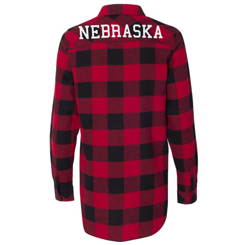 Women's Buffalo Plaid Cotton Flannel Nebraska Shirt-Red/Black Back