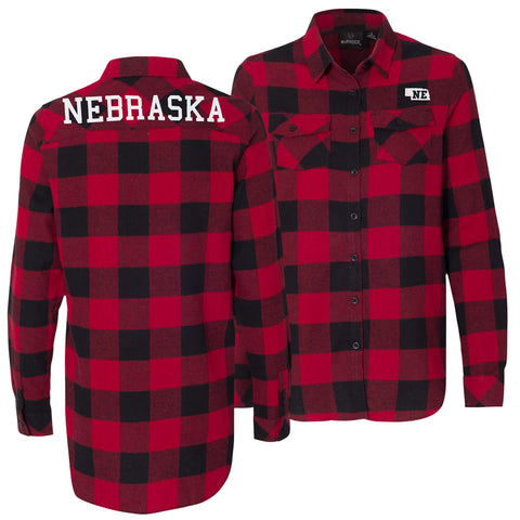 Women's Buffalo Plaid Nebraska Red Flannel Shirt