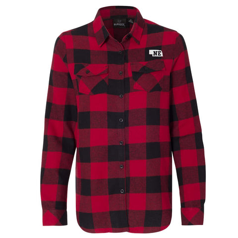 Women's Buffalo Plaid Cotton Flannel Nebraska Shirt-Red/Black