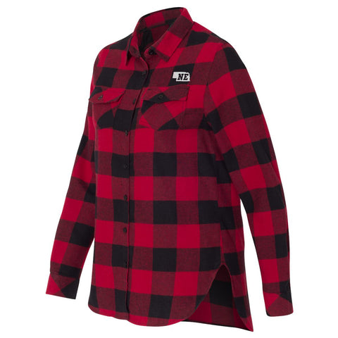 Women's Buffalo Plaid Cotton Flannel Nebraska Shirt-Red/Black Side
