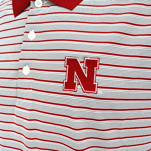 Men's Nebraska Red & Gray Stripe Golf Polo by Cutter&Buck Detail