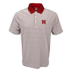 Men's Nebraska Red & Gray Stripe Golf Polo by Cutter&Buck