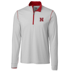Men's Nebraska Huskers Meridian Stripe 1/2 Zip by Cutter&Buck-Grey