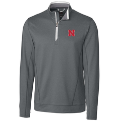 1 LEFT! Men's Nebraska Huskers Endurance 1/2 Zip by Cutter & Buck - Grey